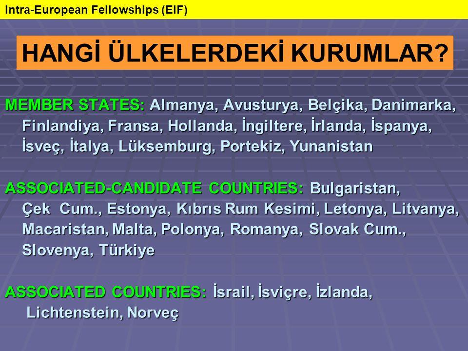 MEMBER STATES: Almanya, Avusturya, Belçika, Danimarka, Finlandiya, Fransa, Hollanda, İngiltere, İrlanda, İspanya, Finlandiya, Fransa, Hollanda, İngiltere, İrlanda, İspanya, İsveç, İtalya, Lüksemburg, Portekiz, Yunanistan İsveç, İtalya, Lüksemburg, Portekiz, Yunanistan ASSOCIATED-CANDIDATE COUNTRIES: Bulgaristan, Çek Cum., Estonya, Kıbrıs Rum Kesimi, Letonya, Litvanya, Çek Cum., Estonya, Kıbrıs Rum Kesimi, Letonya, Litvanya, Macaristan, Malta, Polonya, Romanya, Slovak Cum., Macaristan, Malta, Polonya, Romanya, Slovak Cum., Slovenya, Türkiye Slovenya, Türkiye ASSOCIATED COUNTRIES: İsrail, İsviçre, İzlanda, Lichtenstein, Norveç Lichtenstein, Norveç HANGİ ÜLKELERDEKİ KURUMLAR.