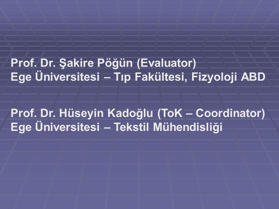 Prof. Dr. Şakire Pöğün (Evaluator) Ege Üniversitesi – Tıp Fakültesi, Fizyoloji ABD Prof.
