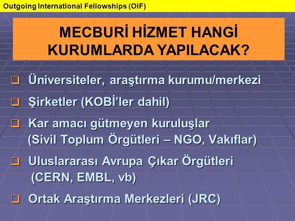  Üniversiteler, araştırma kurumu/merkezi  Şirketler (KOBİ'ler dahil)  Kar amacı gütmeyen kuruluşlar (Sivil Toplum Örgütleri – NGO, Vakıflar) (Sivil Toplum Örgütleri – NGO, Vakıflar)  Uluslararası Avrupa Çıkar Örgütleri (CERN, EMBL, vb) (CERN, EMBL, vb)  Ortak Araştırma Merkezleri (JRC) MECBURİ HİZMET HANGİ KURUMLARDA YAPILACAK.