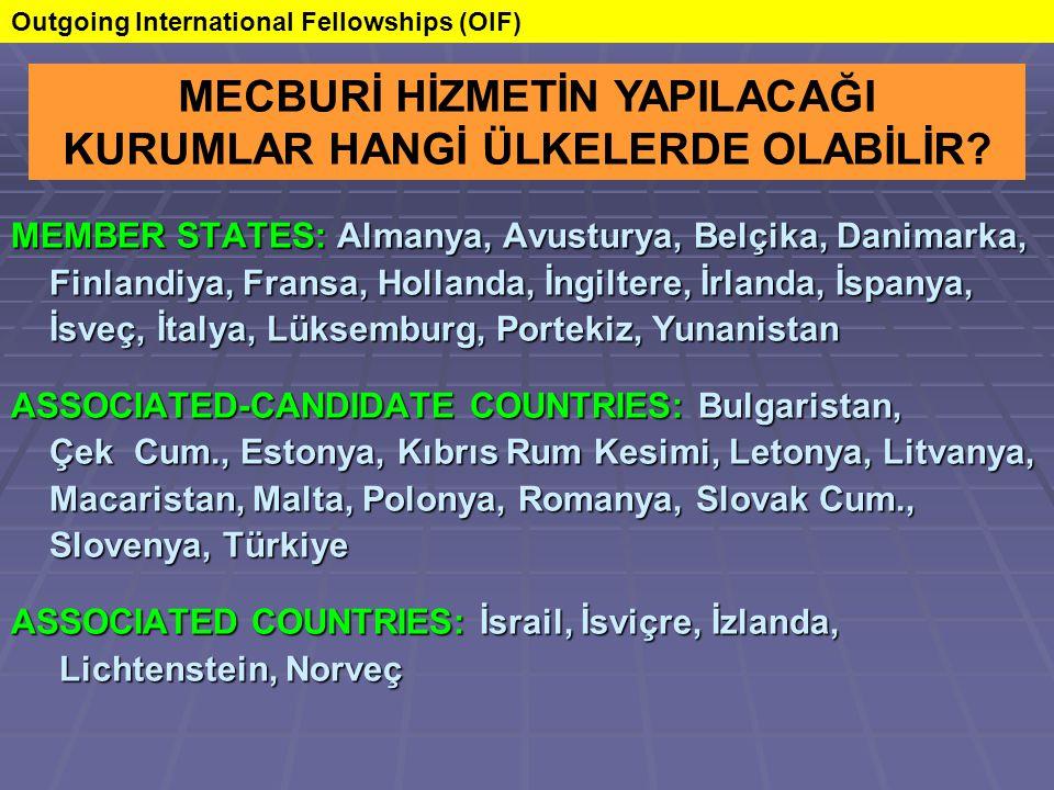 MEMBER STATES: Almanya, Avusturya, Belçika, Danimarka, Finlandiya, Fransa, Hollanda, İngiltere, İrlanda, İspanya, Finlandiya, Fransa, Hollanda, İngiltere, İrlanda, İspanya, İsveç, İtalya, Lüksemburg, Portekiz, Yunanistan İsveç, İtalya, Lüksemburg, Portekiz, Yunanistan ASSOCIATED-CANDIDATE COUNTRIES: Bulgaristan, Çek Cum., Estonya, Kıbrıs Rum Kesimi, Letonya, Litvanya, Çek Cum., Estonya, Kıbrıs Rum Kesimi, Letonya, Litvanya, Macaristan, Malta, Polonya, Romanya, Slovak Cum., Macaristan, Malta, Polonya, Romanya, Slovak Cum., Slovenya, Türkiye Slovenya, Türkiye ASSOCIATED COUNTRIES: İsrail, İsviçre, İzlanda, Lichtenstein, Norveç Lichtenstein, Norveç MECBURİ HİZMETİN YAPILACAĞI KURUMLAR HANGİ ÜLKELERDE OLABİLİR.