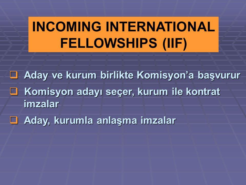  Aday ve kurum birlikte Komisyon'a başvurur  Komisyon adayı seçer, kurum ile kontrat imzalar imzalar  Aday, kurumla anlaşma imzalar INCOMING INTERNATIONAL FELLOWSHIPS (IIF)