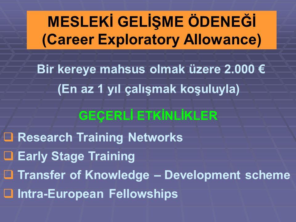 MESLEKİ GELİŞME ÖDENEĞİ (Career Exploratory Allowance) Bir kereye mahsus olmak üzere 2.000 € (En az 1 yıl çalışmak koşuluyla) GEÇERLİ ETKİNLİKLER  Research Training Networks  Early Stage Training  Transfer of Knowledge – Development scheme  Intra-European Fellowships