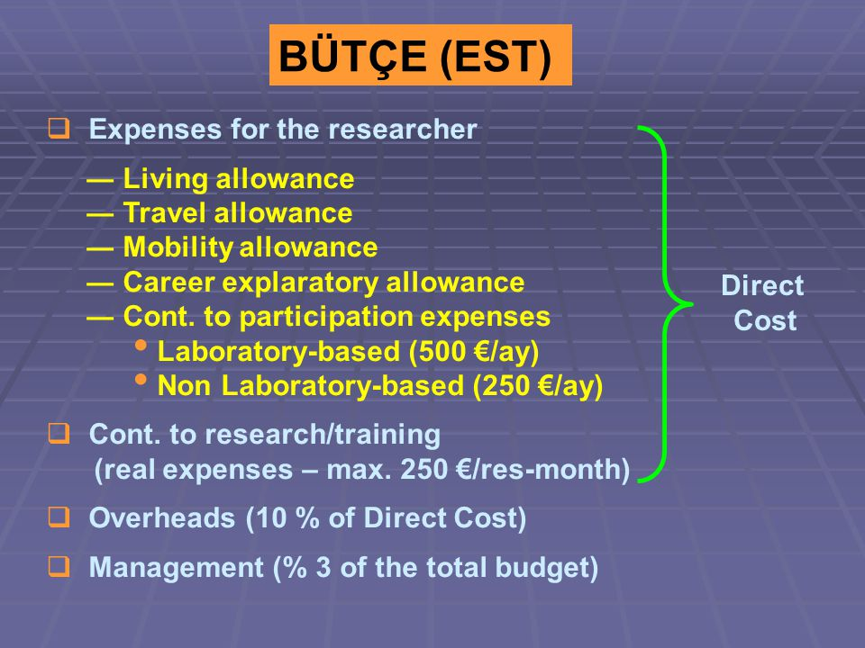 BÜTÇE (EST)  Expenses for the researcher ― Living allowance ― Travel allowance ― Mobility allowance ― Career explaratory allowance ― Cont.