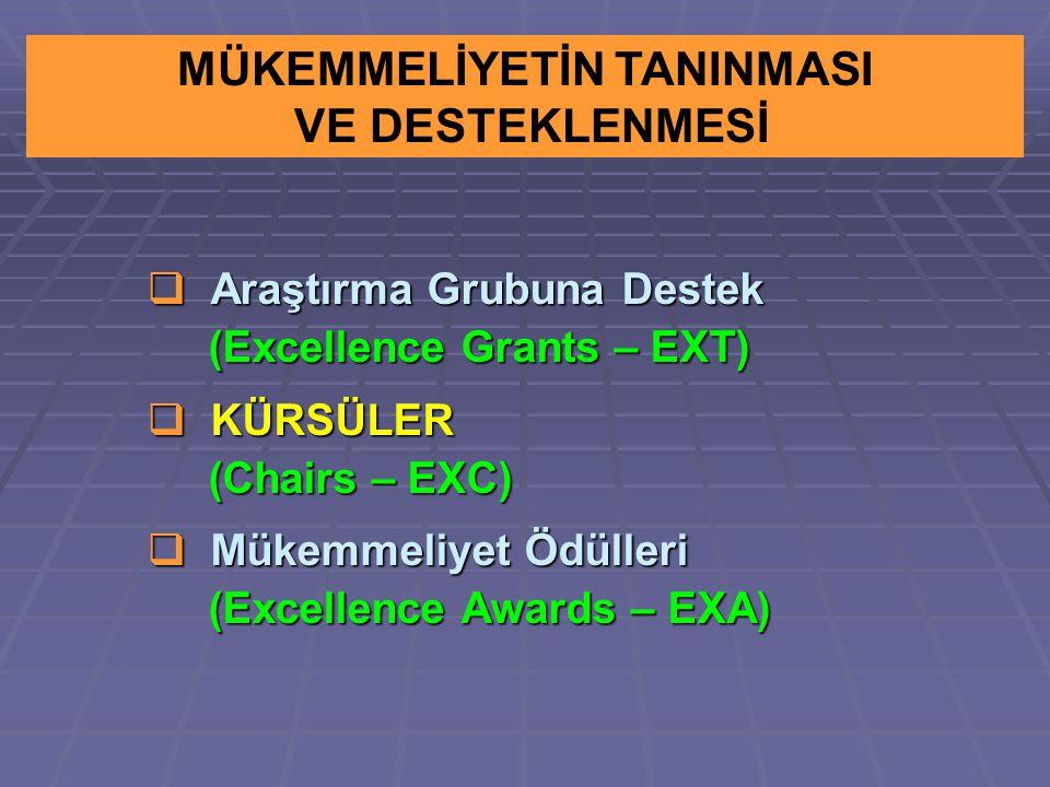  Araştırma Grubuna Destek (Excellence Grants – EXT) (Excellence Grants – EXT)  KÜRSÜLER (Chairs – EXC) (Chairs – EXC)  Mükemmeliyet Ödülleri (Excellence Awards – EXA) (Excellence Awards – EXA) MÜKEMMELİYETİN TANINMASI VE DESTEKLENMESİ