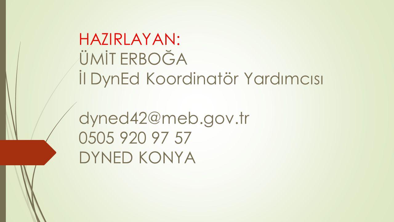 HAZIRLAYAN: ÜMİT ERBOĞA İl DynEd Koordinatör Yardımcısı dyned42@meb.gov.tr 0505 920 97 57 DYNED KONYA