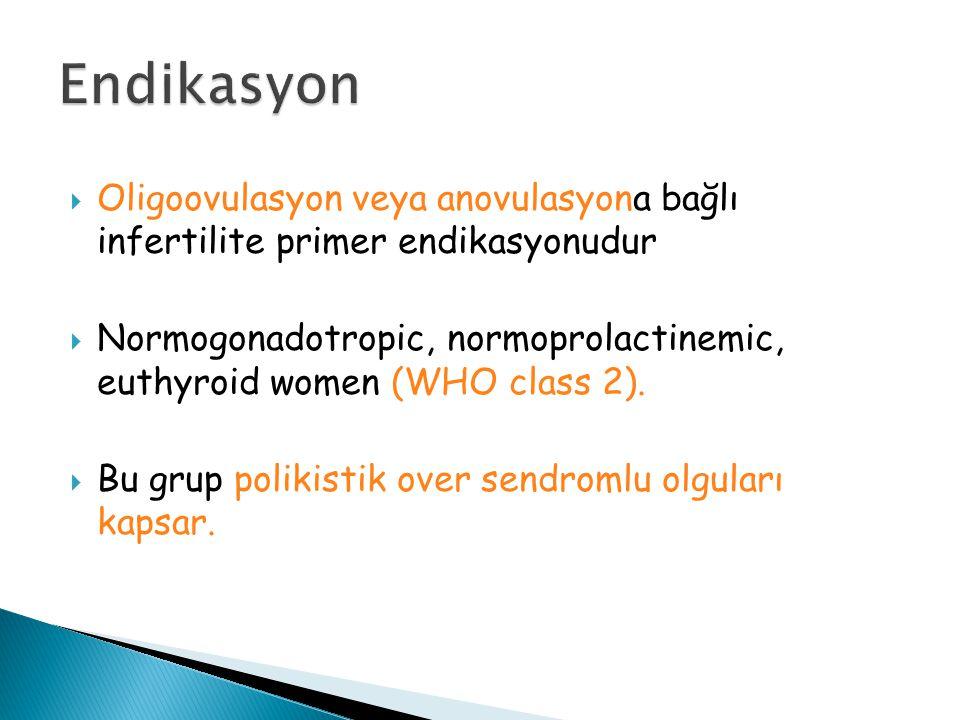  Oligoovulasyon veya anovulasyona bağlı infertilite primer endikasyonudur  Normogonadotropic, normoprolactinemic, euthyroid women (WHO class 2).  B