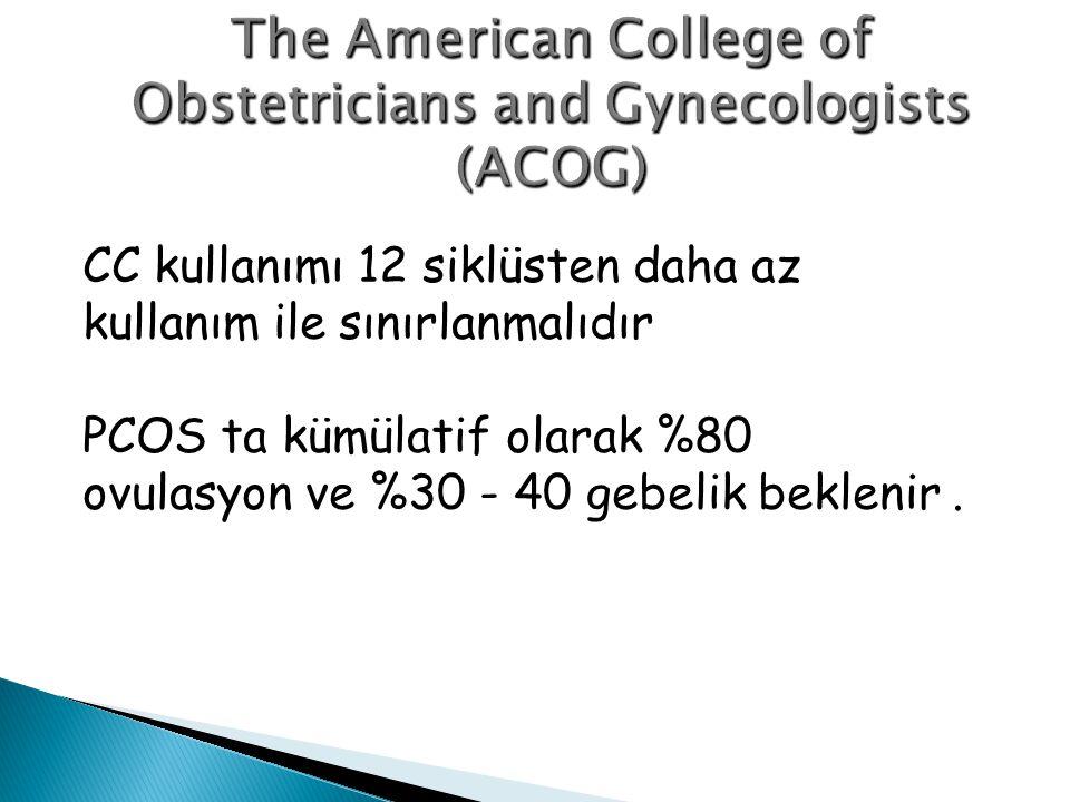 CC kullanımı 12 siklüsten daha az kullanım ile sınırlanmalıdır PCOS ta kümülatif olarak %80 ovulasyon ve %30 - 40 gebelik beklenir.