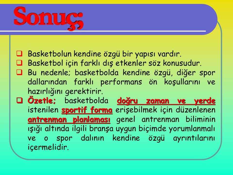  Basketbolun kendine özgü bir yapısı vardır.  Basketbol için farklı dış etkenler söz konusudur.  Bu nedenle; basketbolda kendine özgü, diğer spor d
