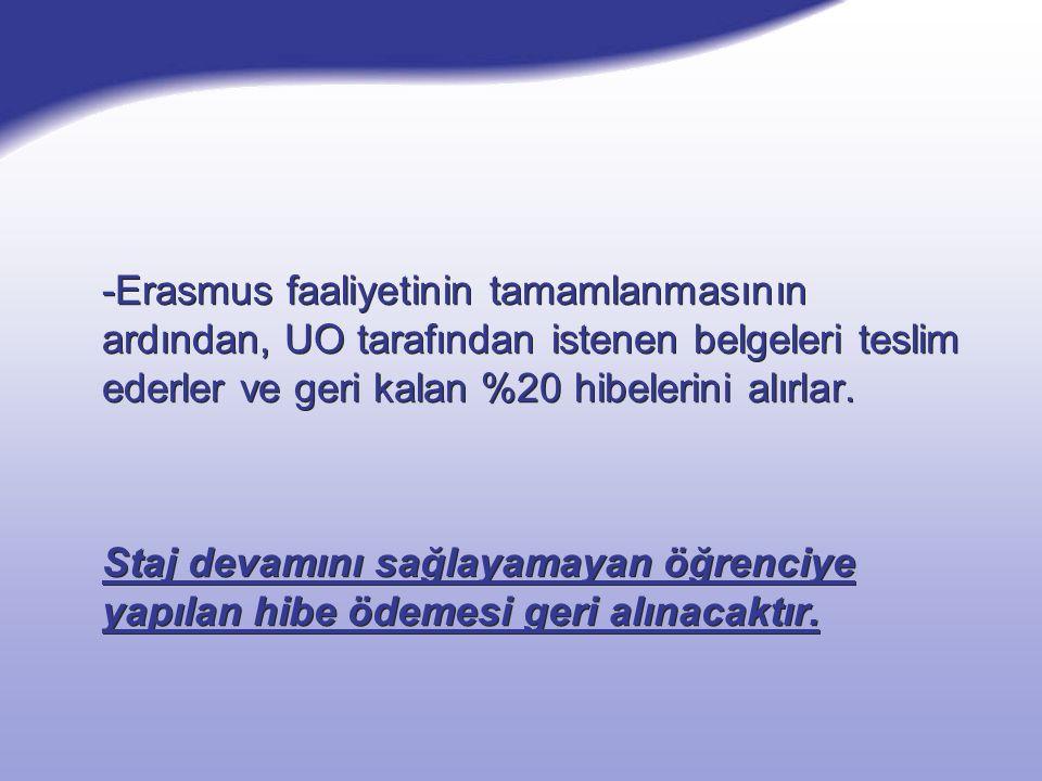 -Erasmus faaliyetinin tamamlanmasının ardından, UO tarafından istenen belgeleri teslim ederler ve geri kalan %20 hibelerini alırlar. Staj devamını sağ