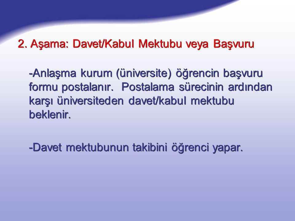 2. Aşama: Davet/Kabul Mektubu veya Başvuru -Anlaşma kurum (üniversite) öğrencin başvuru formu postalanır. Postalama sürecinin ardından karşı üniversit