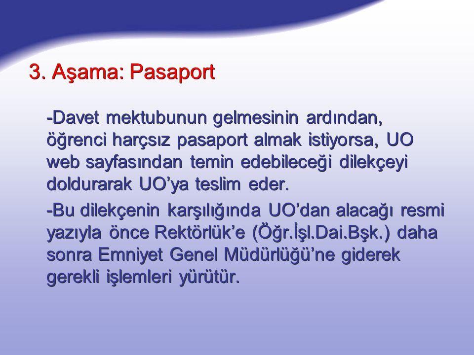 3. Aşama: Pasaport -Davet mektubunun gelmesinin ardından, öğrenci harçsız pasaport almak istiyorsa, UO web sayfasından temin edebileceği dilekçeyi dol