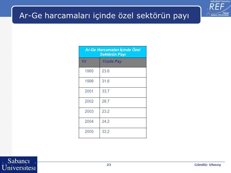 Gündüz Ulusoy23 Ar-Ge harcamaları içinde özel sektörün payı Ar-Ge Harcamaları İçinde Özel Sektörün Payı YılYüzde Pay 199523,6 199831,6 200133,7 200228