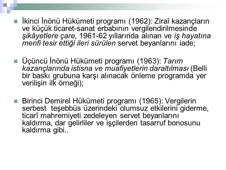 İkinci İnönü Hükümeti programı (1962): Ziraî kazançların ve küçük ticaret-sanat erbabının vergilendirilmesinde şikâyetlere çare, 1961-62 yıllarında alınan ve iş hayatına menfi tesir ettiği ileri sürülen servet beyanlarını iade; Üçüncü İnönü Hükümeti programı (1963): Tarım kazançlarında istisna ve muafiyetlerin daraltılması (Belli bir baskı grubuna karşı alınacak önleme programda yer verilişin ilk örneği); Birinci Demirel Hükümeti programı (1965): Vergilerin serbest teşebbüs üzerindeki olumsuz etkilerini giderme, ticarî mahremiyeti zedeleyen servet beyanlarını kaldırma, dar gelirliler ve işçilerden tasarruf bonosunu kaldırma gibi..