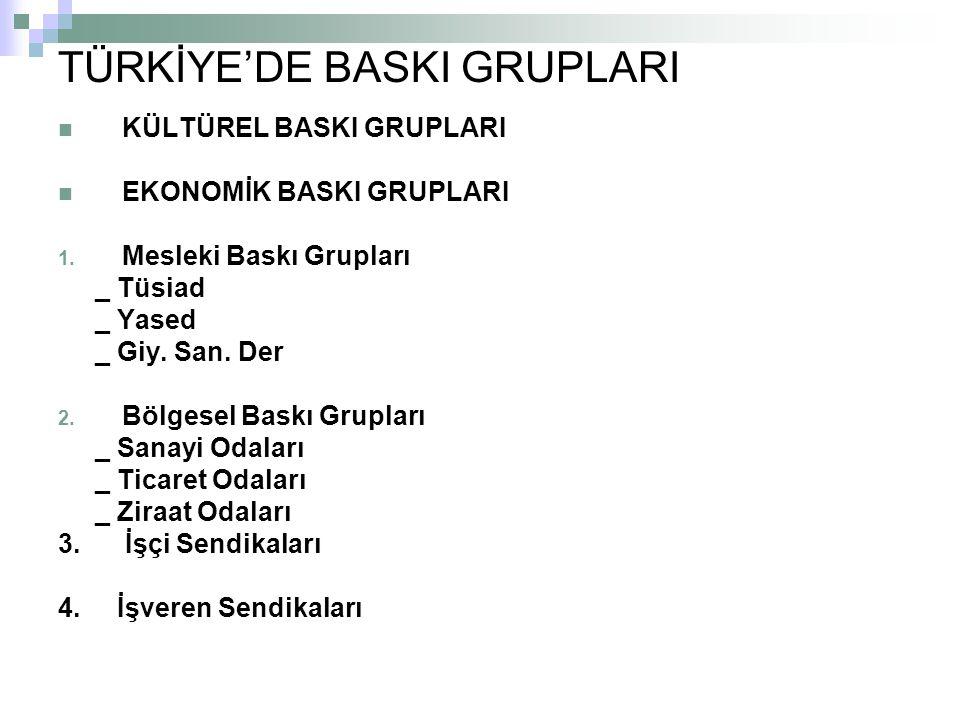TÜRKİYE'DE BASKI GRUPLARI KÜLTÜREL BASKI GRUPLARI EKONOMİK BASKI GRUPLARI 1.