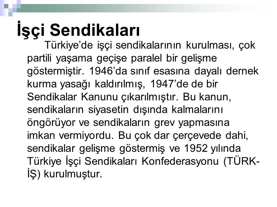 İşçi Sendikaları Türkiye'de işçi sendikalarının kurulması, çok partili yaşama geçişe paralel bir gelişme göstermiştir.