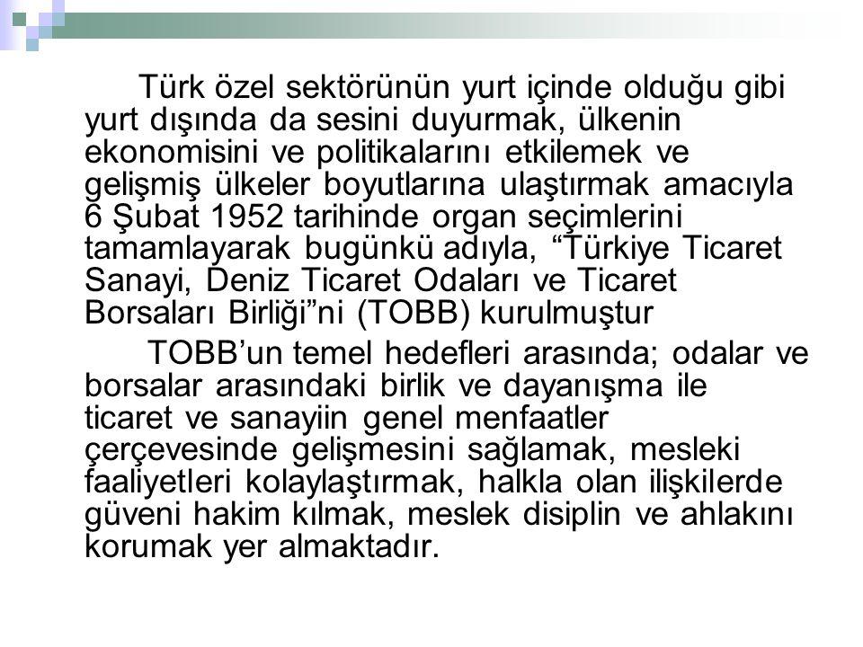 Türk özel sektörünün yurt içinde olduğu gibi yurt dışında da sesini duyurmak, ülkenin ekonomisini ve politikalarını etkilemek ve gelişmiş ülkeler boyutlarına ulaştırmak amacıyla 6 Şubat 1952 tarihinde organ seçimlerini tamamlayarak bugünkü adıyla, Türkiye Ticaret Sanayi, Deniz Ticaret Odaları ve Ticaret Borsaları Birliği ni (TOBB) kurulmuştur TOBB'un temel hedefleri arasında; odalar ve borsalar arasındaki birlik ve dayanışma ile ticaret ve sanayiin genel menfaatler çerçevesinde gelişmesini sağlamak, mesleki faaliyetleri kolaylaştırmak, halkla olan ilişkilerde güveni hakim kılmak, meslek disiplin ve ahlakını korumak yer almaktadır.