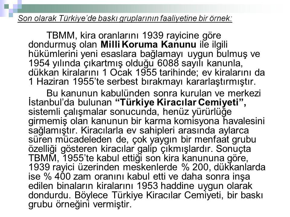 Son olarak Türkiye'de baskı gruplarının faaliyetine bir örnek: TBMM, kira oranlarını 1939 rayicine göre dondurmuş olan Milli Koruma Kanunu ile ilgili hükümlerini yeni esaslara bağlamayı uygun bulmuş ve 1954 yılında çıkartmış olduğu 6088 sayılı kanunla, dükkan kiralarını 1 Ocak 1955 tarihinde; ev kiralarını da 1 Haziran 1955'te serbest bırakmayı kararlaştırmıştır.