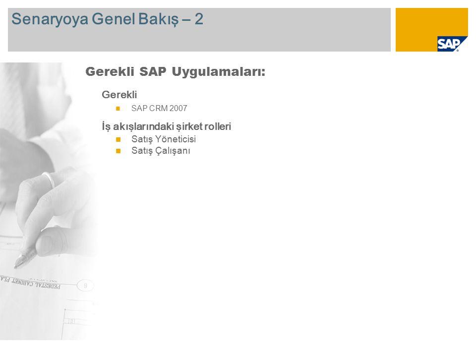 Senaryoya Genel Bakış – 2 Gerekli SAP CRM 2007 İş akışlarındaki şirket rolleri Satış Yöneticisi Satış Çalışanı Gerekli SAP Uygulamaları: