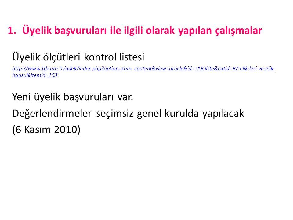 1.Üyelik başvuruları ile ilgili olarak yapılan çalışmalar Üyelik ölçütleri kontrol listesi http://www.ttb.org.tr/udek/index.php?option=com_content&vie