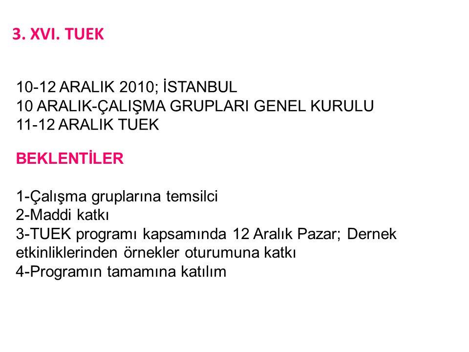 3. XVI. TUEK 10-12 ARALIK 2010; İSTANBUL 10 ARALIK-ÇALIŞMA GRUPLARI GENEL KURULU 11-12 ARALIK TUEK BEKLENTİLER 1-Çalışma gruplarına temsilci 2-Maddi k