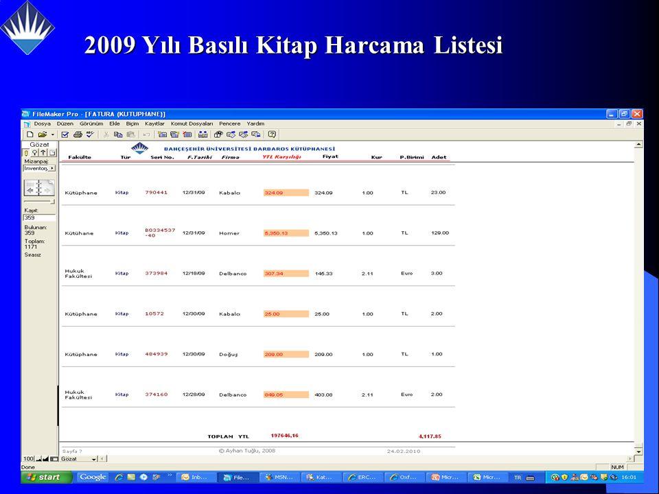 2009 Yılı Basılı Kitap Harcama Listesi