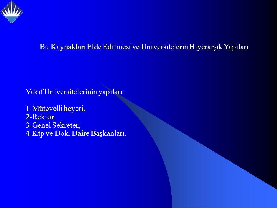 Vakıf Üniversitelerinin yapıları: 1-Mütevelli heyeti, 2-Rektör, 3-Genel Sekreter, 4-Ktp ve Dok.