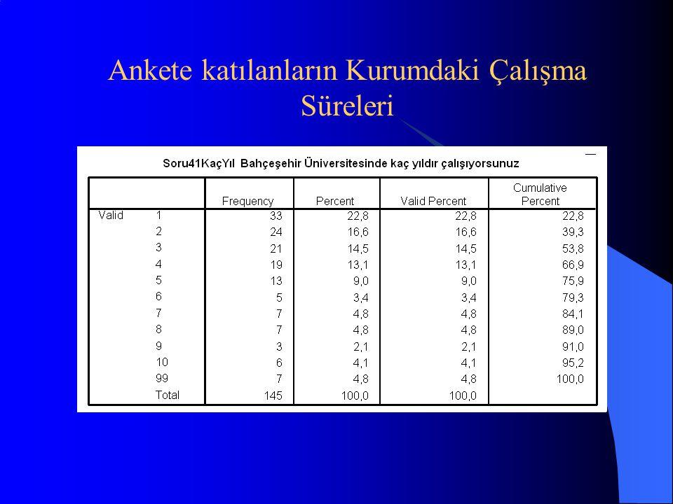 Ankete katılanların Kurumdaki Çalışma Süreleri