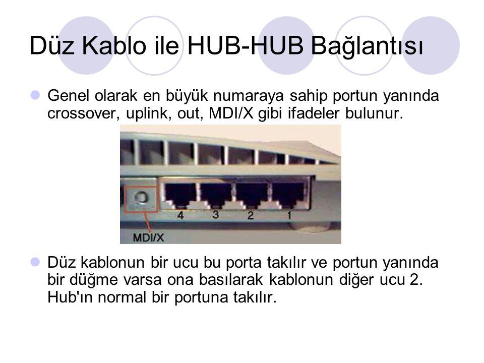 Düz Kablo ile HUB-HUB Bağlantısı Genel olarak en büyük numaraya sahip portun yanında crossover, uplink, out, MDI/X gibi ifadeler bulunur. Düz kablonun
