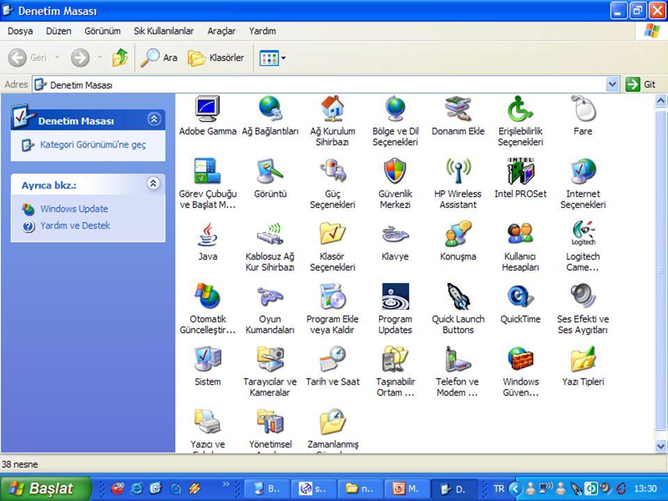   Windows'un görünümü, klasörlerin nasıl gözükeceğini, Saat, Yazıcı, Ağ ayarları, Program ekleyip kaldırma, Donanım ekleme, büyüteç, klavye, fare ve sistemle ilgili ayarları değiştirebiliriz.