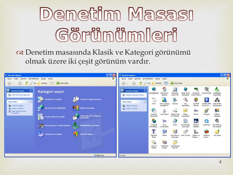   Internet Seçenekleri  Internet Explorer ayarları değiştirilir.