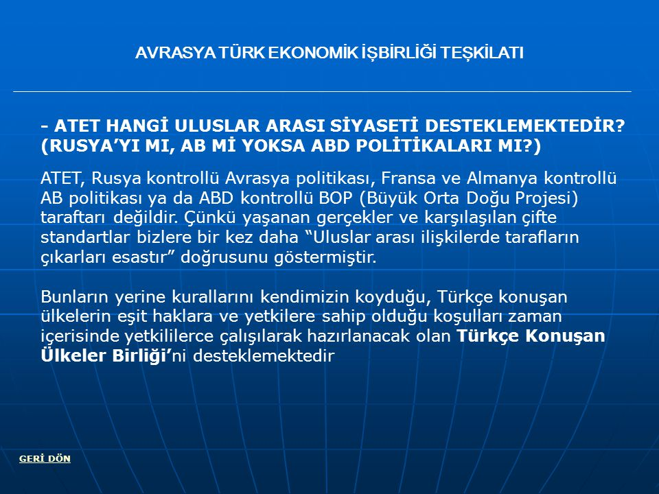 EURESIA TURKISH ECONOMIC COOPERATION ORGANIZATION COMMUNICATION atet.en@hotmail.com BACK atet-com@googlegroups.com