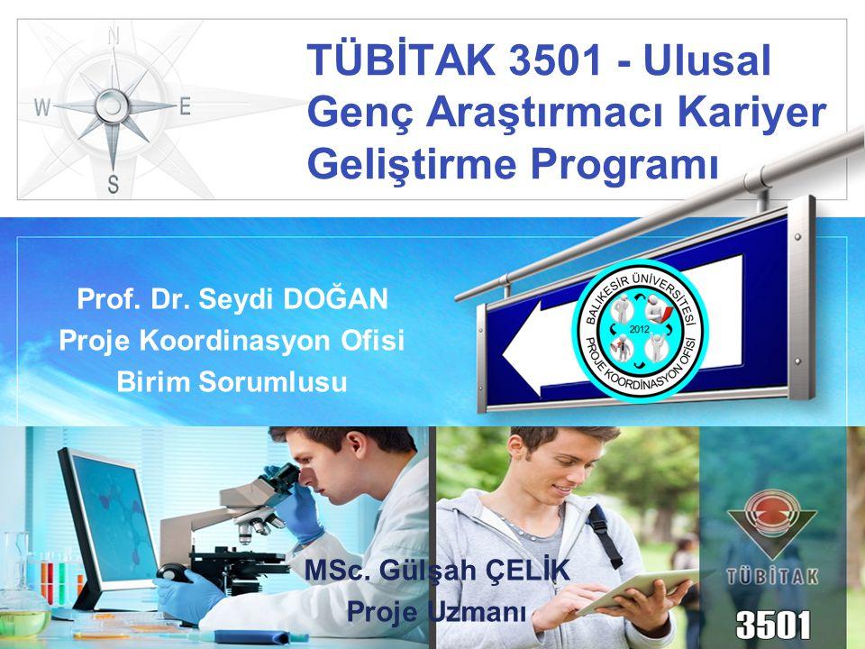 LOGO TÜBİTAK 3501 - Ulusal Genç Araştırmacı Kariyer Geliştirme Programı Prof. Dr. Seydi DOĞAN Proje Koordinasyon Ofisi Birim Sorumlusu MSc. Gülşah ÇEL