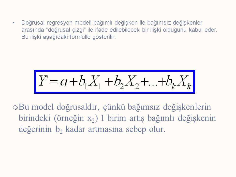  Bu model doğrusaldır, çünkü bağımsız değişkenlerin birindeki (örneğin x 2 ) 1 birim artış bağımlı değişkenin değerinin b 2 kadar artmasına sebep olu