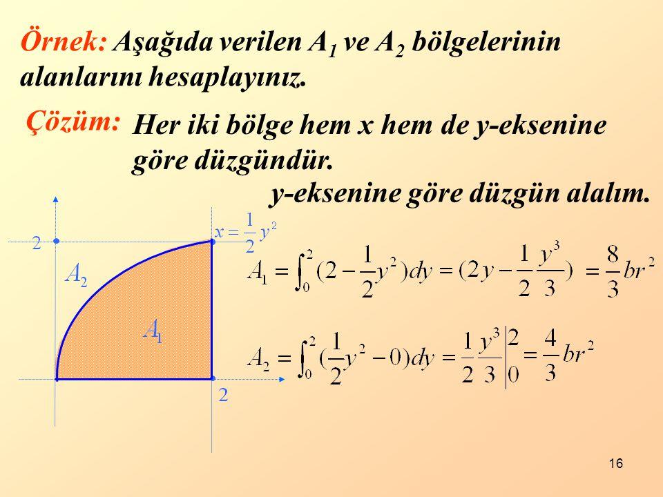 16 Örnek: Aşağıda verilen A 1 ve A 2 bölgelerinin alanlarını hesaplayınız. Çözüm: Her iki bölge hem x hem de y-eksenine göre düzgündür. y-eksenine gör