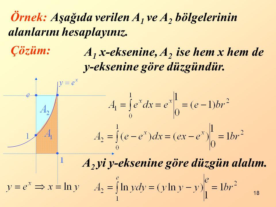 18 Aşağıda verilen A 1 ve A 2 bölgelerinin alanlarını hesaplayınız. Çözüm: A 1 x-eksenine, A 2 ise hem x hem de y-eksenine göre düzgündür. A 2 yi y-ek