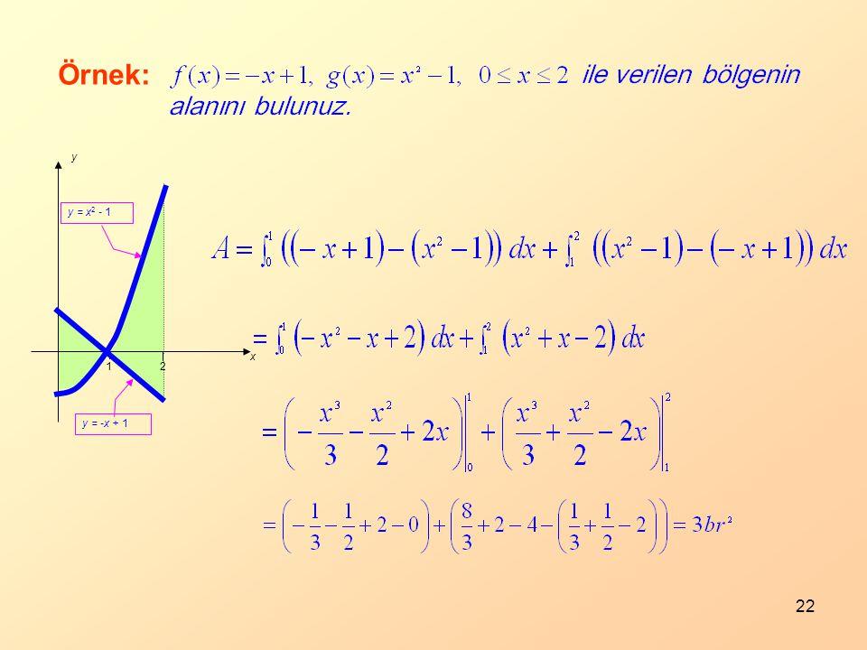 22 21 x y y = -x + 1 y = x 2 - 1 Örnek: