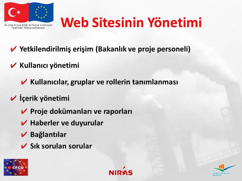 Web Sitesinin Yönetimi Yetkilendirilmiş erişim (Bakanlık ve proje personeli) Kullanıcı yönetimi Kullanıcılar, gruplar ve rollerin tanımlanması İçerik