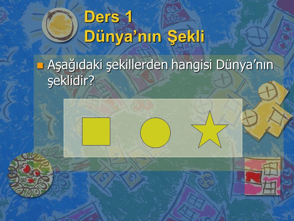 Ders 1 Dünya'nın Şekli n Aşağıdaki şekillerden hangisi Dünya'nın şeklidir?