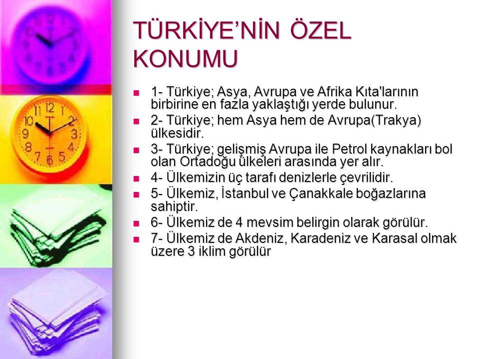 TÜRKİYE'NİN ÖZEL KONUMU 1- Türkiye; Asya, Avrupa ve Afrika Kıta'larının birbirine en fazla yaklaştığı yerde bulunur. 1- Türkiye; Asya, Avrupa ve Afrik