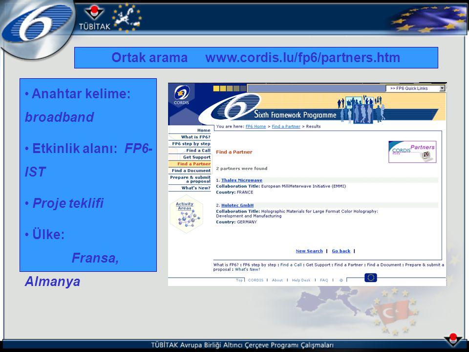 Ortak arama www.cordis.lu/fp6/partners.htm Anahtar kelime: broadband Etkinlik alanı: FP6- IST Proje teklifi Ülke: Fransa, Almanya