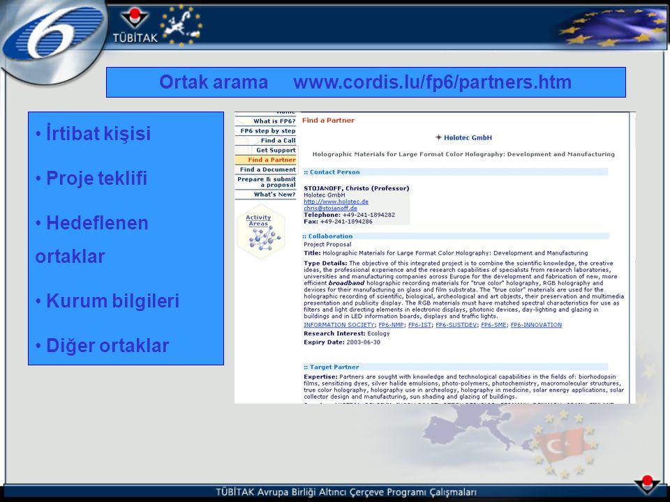 İrtibat kişisi Proje teklifi Hedeflenen ortaklar Kurum bilgileri Diğer ortaklar Ortak arama www.cordis.lu/fp6/partners.htm