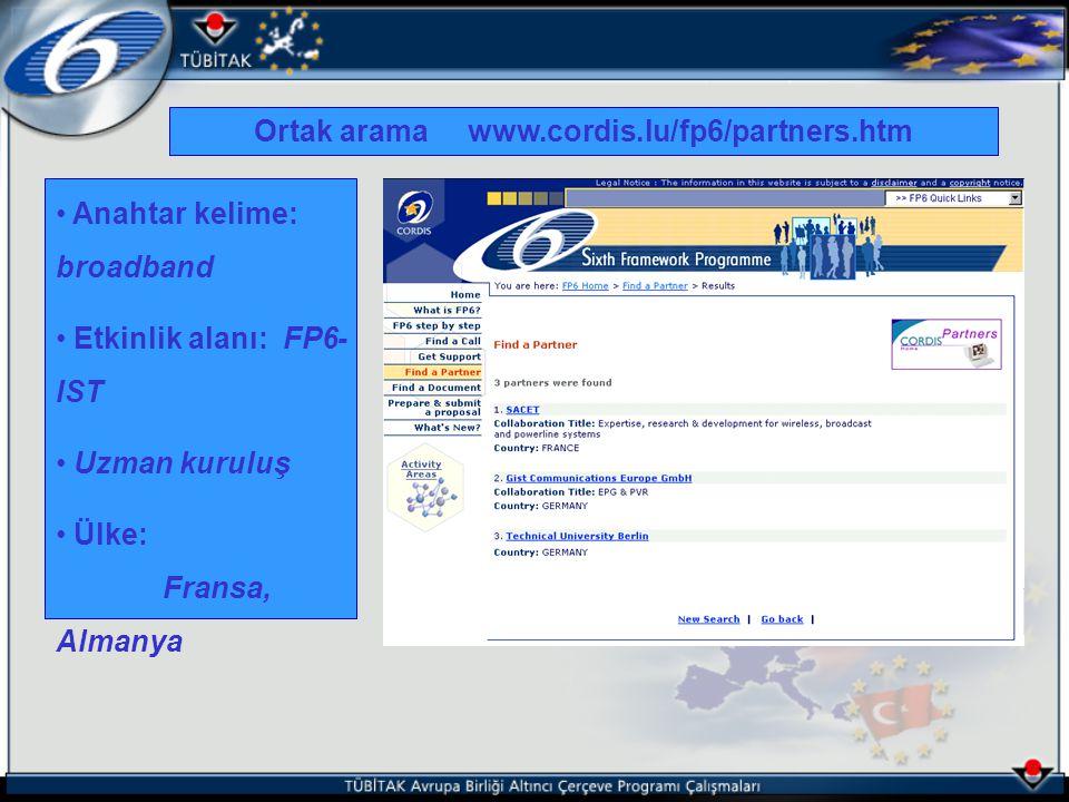 Anahtar kelime: broadband Etkinlik alanı: FP6- IST Uzman kuruluş Ülke: Fransa, Almanya