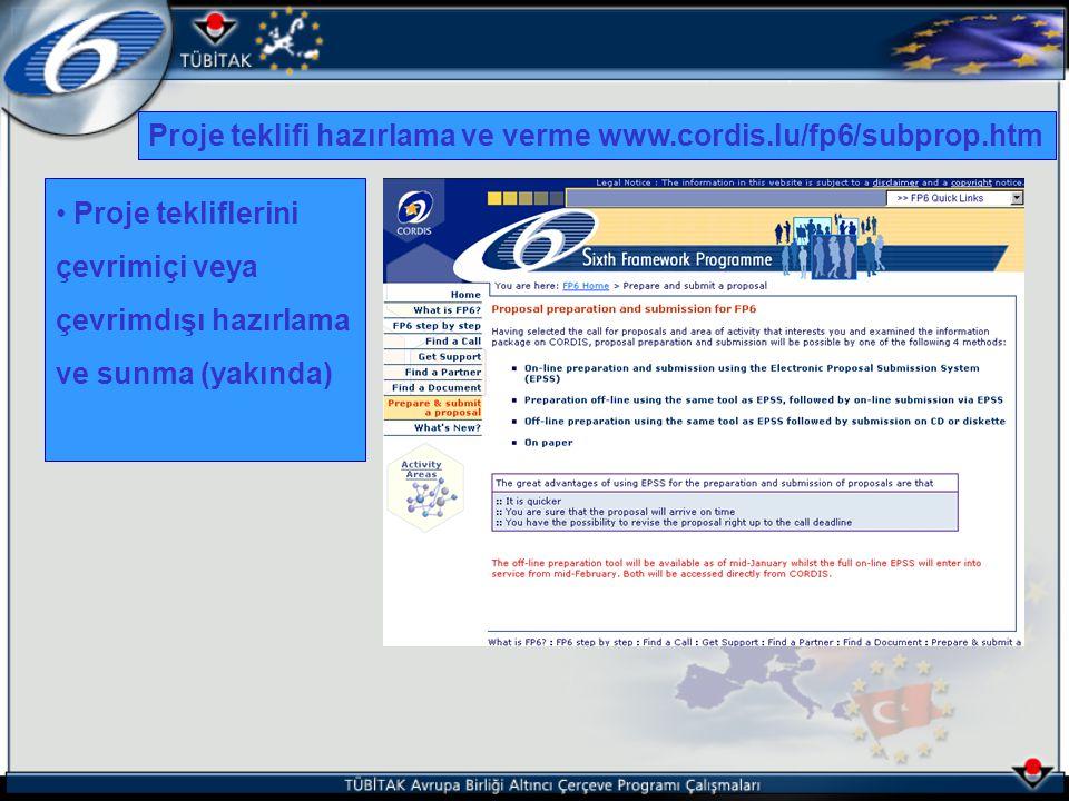 Proje tekliflerini çevrimiçi veya çevrimdışı hazırlama ve sunma (yakında) Proje teklifi hazırlama ve verme www.cordis.lu/fp6/subprop.htm