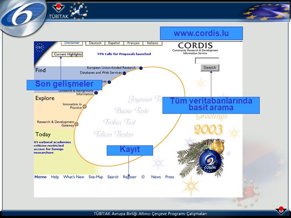 www.cordis.lu Kayıt Tüm veritabanlarında basit arama Son gelişmeler