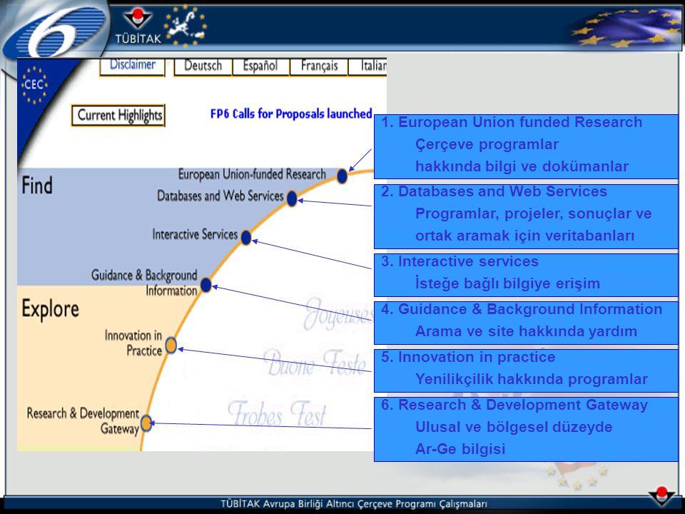1. European Union funded Research Çerçeve programlar hakkında bilgi ve dokümanlar 2.