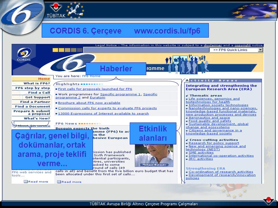 CORDIS 6. Çerçeve www.cordis.lu/fp6 Etkinlik alanları Çağrılar, genel bilgi, dokümanlar, ortak arama, proje teklifi verme... Haberler
