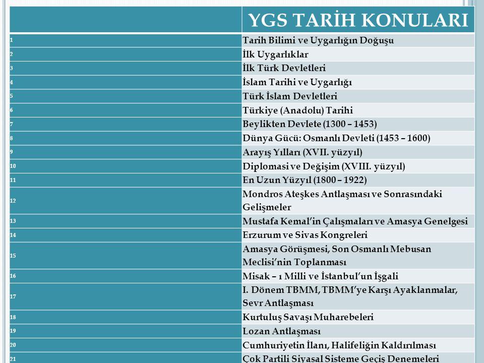 YGS TARİH KONULARI 1 Tarih Bilimi ve Uygarlığın Doğuşu 2 İlk Uygarlıklar 3 İlk Türk Devletleri 4 İslam Tarihi ve Uygarlığı 5 Türk İslam Devletleri 6 T