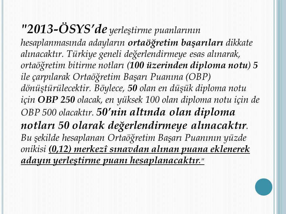 OBP PUANINA UYGULANAN İŞ LEM: KATSAYI ÖSYM yerleştirme puanına eklenecek puan hesaplamasını OBP yi 0,12 katsayısı ile çarparak yapmaktadır.