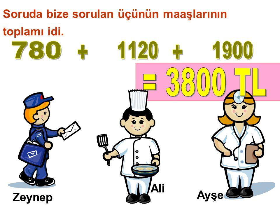 Zeynep Ali Ayşe Soruda bize sorulan üçünün maaşlarının toplamı idi.