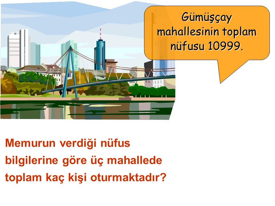 Gümüşçay mahallesinin toplam nüfusu 10999.